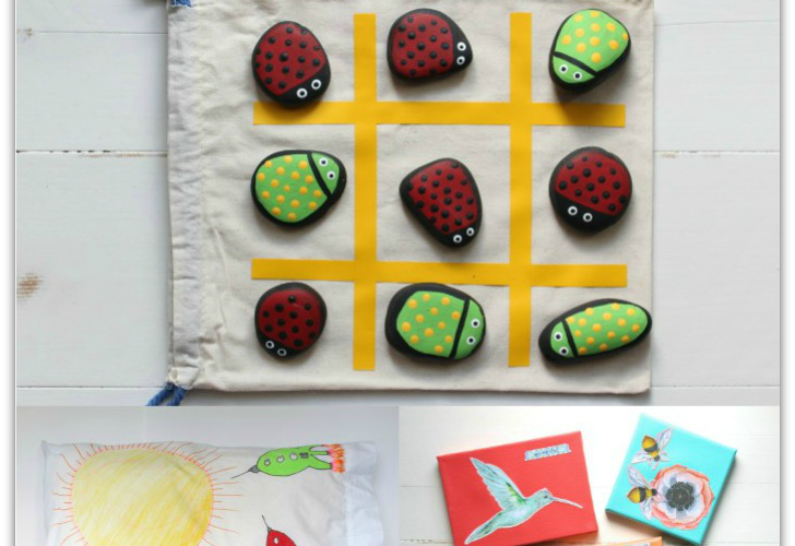7 FUN Summer Crafts or Kids including a Sharpie Tie Dyed tee shirt, Bug Themed Tic Tac Toe, Decorated Pillowcase and more.