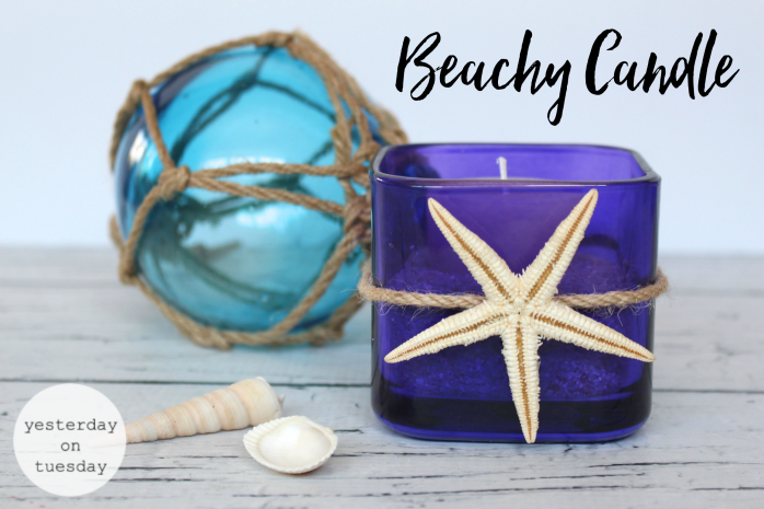7 Gorgeous Ways to Reuse Glass Candle Holders including a beachy candle, flower vase, place to corral glasses, desk set, succulent planter and more!