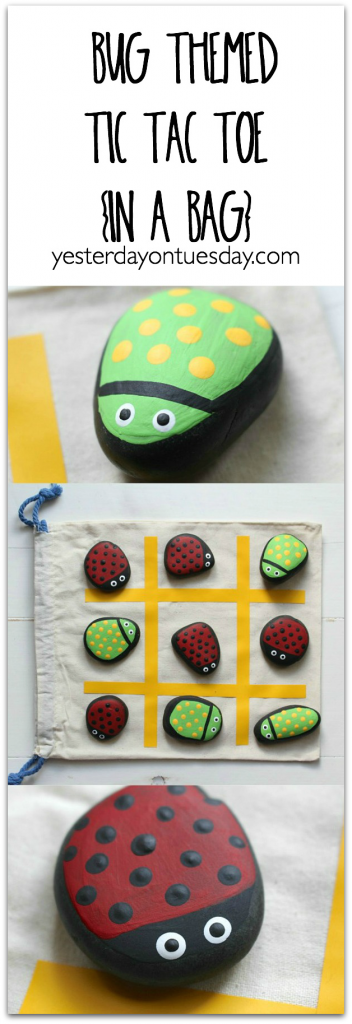 DIY Bug Themed Tic Tac Toe in a Bag: How to paint cute bug rocks and make a portable Tic Tac Toe Game
