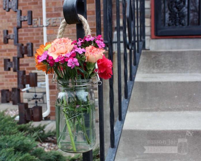 rope-handle-thick-wide-mouth-ball-mason-jar-hanging-handrail from @masonlifestyle
