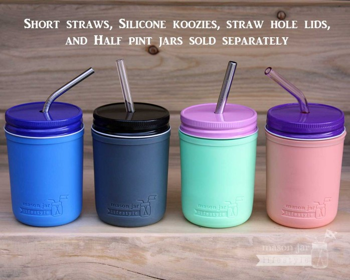 silicone-sleeves-coozies-half-pint-8oz-mason-jars-lids-straws from @masonlifestyle