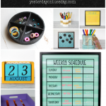 7 Back to School Organizing Solutions including a dry erase board, perpetual calendar, chalkboard organizer, Weekly Schedule and more.