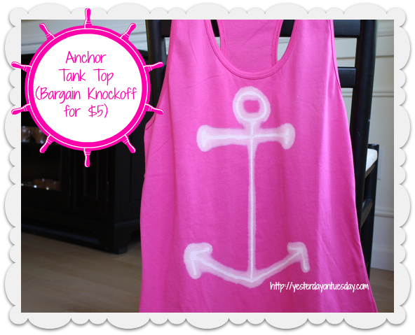 Transform a plain tank into a designer Anchor Tank Top for a few dollars! Great beachy fashion upcycle.
