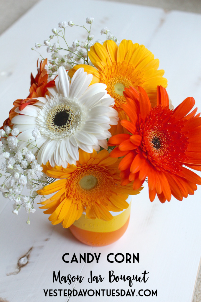 Candy Corn Mason Jar Bouquet: How to DIY a cute Candy Corn themed mason jar and gift for Halloween