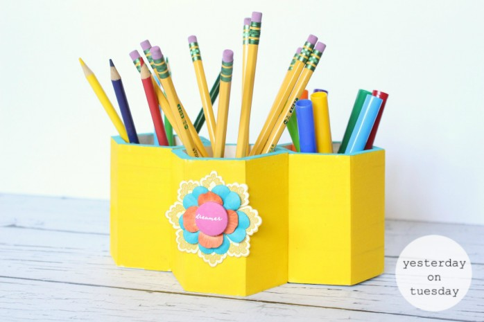 DIY Pen and Pencil Organizer, great project for back to school or home office