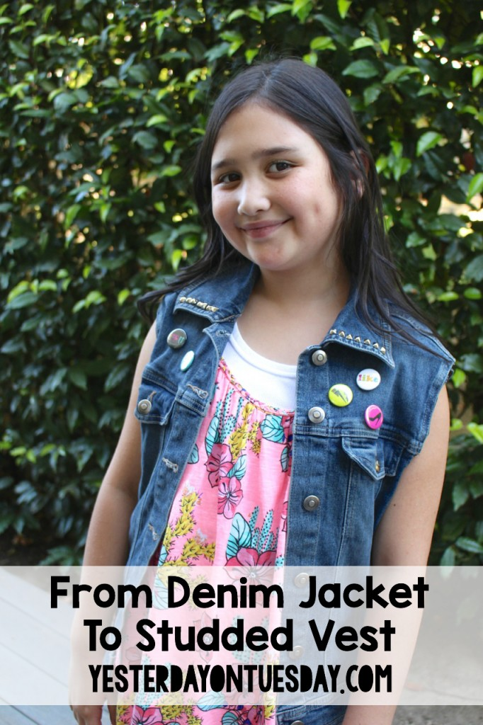 Fashion Upcycle: How to transform a denim jacket into a studded vest in just a few minutes! Great project for kids, tweens and adults.