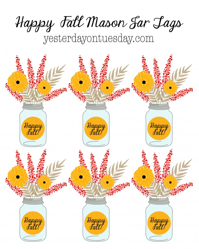 Happy Fall Printable Mason Jar Tags, great for gift giving