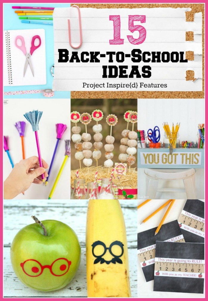 15 Awesome Back to School Ideas including fun fruit vinyl, tassel pencil toppers, desk organizer and more!