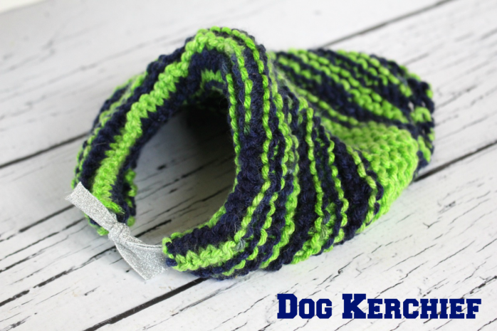 DIY Knitted Dog Kerchief, customize in your favorite football team's colors