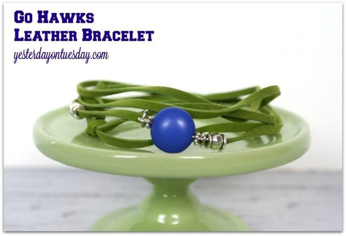 Go Hawks Leather Bracelet