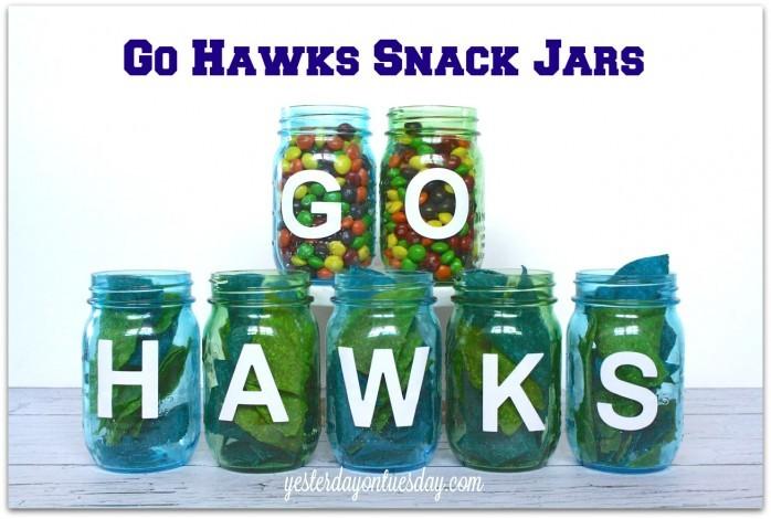 Go Hawks Mason Jar Snack Jars