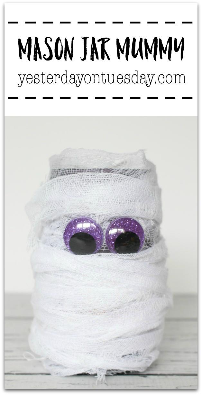 DIY Mason Jar Mummy, a fun Halloween mason jar craft.