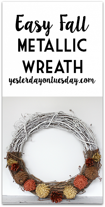 Easy Fall Metallic Wreath with Pinecones