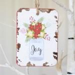 Mason Jar Joy Ornament: Make this darling ornament, great for Christmas gift giving, plus free printables!