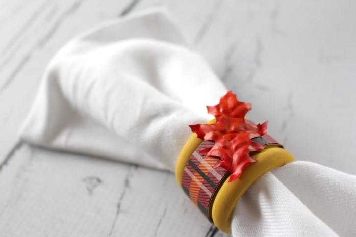 Napkin Ring with Red Leaf for Thanksgiving