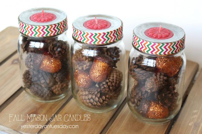 Pinecone Mason Jar Candles, pretty fall decor