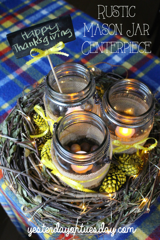 Rustic Mason Jar Centerpiece with Pinecones, a cheap and pretty fall or Thanksgiving centerpiece idea