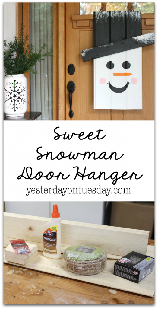 Sweet Snowman Door Hanger: How to make a darling door hanging with supplies from @HomeDepot. Perfect decor for Christmas and the holiday season. #DIHWorkshop #sponsored