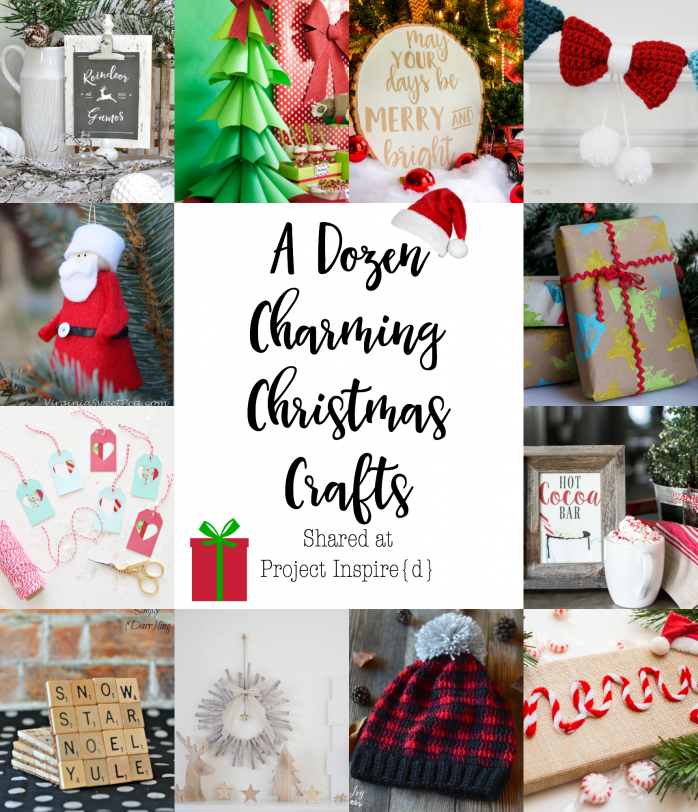 A Dozen Charming Christmas Crafts including a crochet bow garland, washi tape tags, paper Christmas trees and more!
