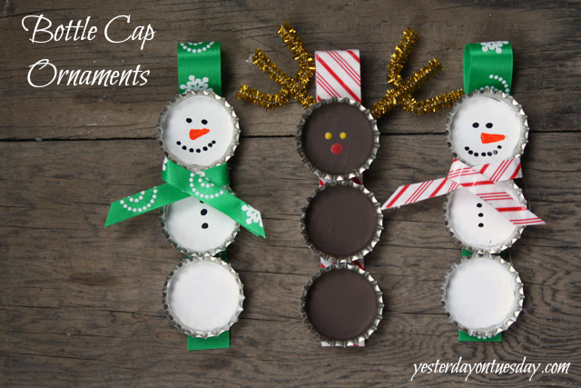 Bottle Cap Christmas Ornaments: Grab some budget friendly supplies at the dollar tree to make these sweet christmas ornaments.