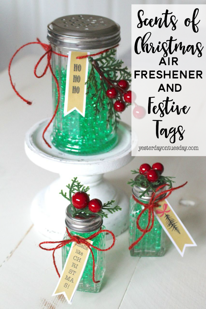 Scents of Christmas Air Freshener: Transform salt and pepper shakers into pretty air fresheners with stuff from the dollar store!