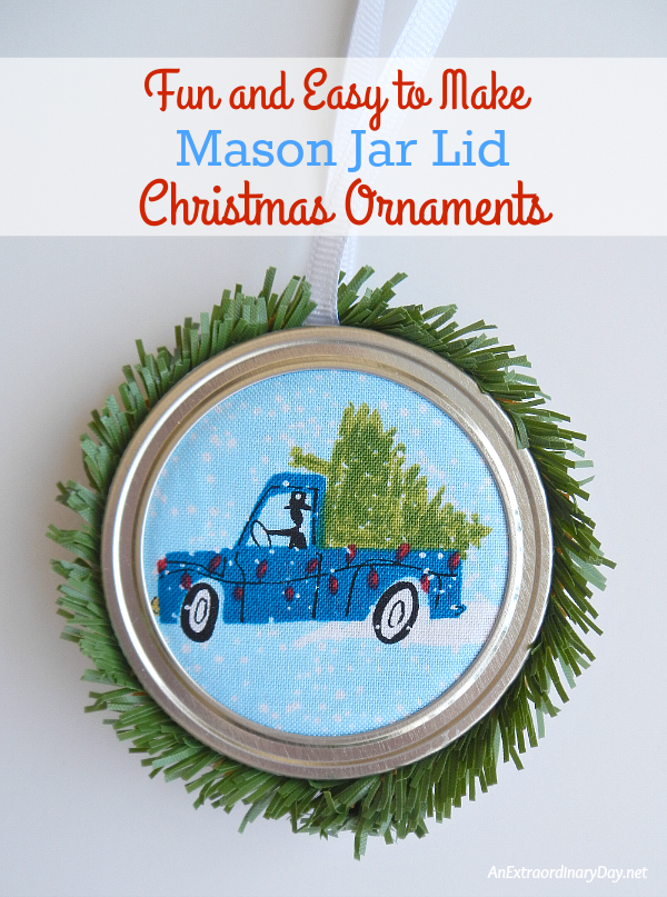 fun-and-easy-to-make-mason-jar-lid-christmas-ornaments-christmas-trees-on-cars-anextraordinaryday-net_