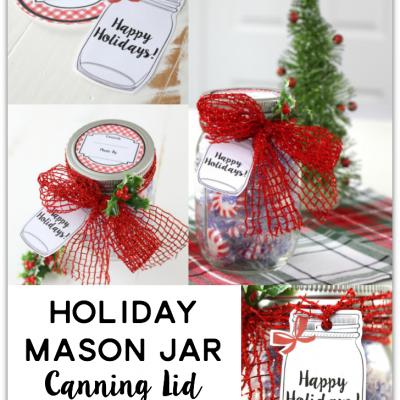 Holiday Mason Jar Canning Lid Labels and Tags