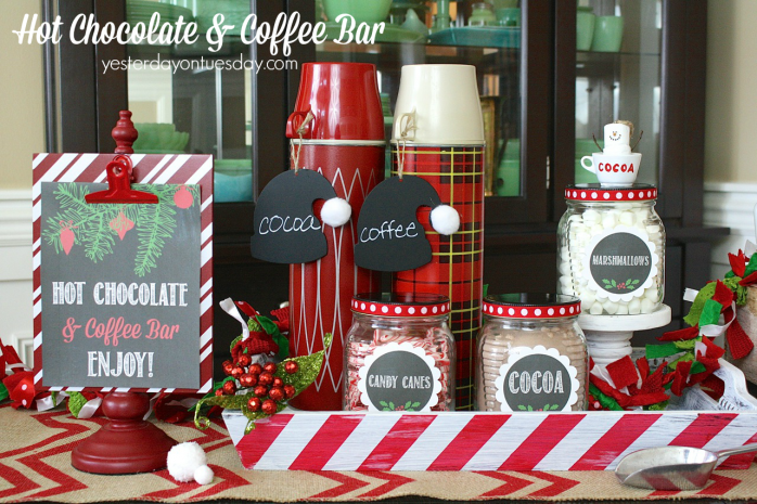 How to make a festive Hot Chocolate and Coffee Bar for Christmas and the Holidays with chalkboard printables