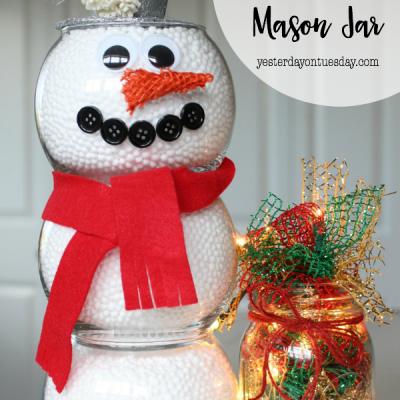 Lighted Christmas Mason Jar