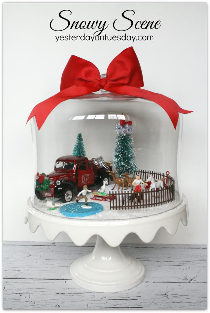 Snowy Scene Under Glass: A Charming Christmas decor idea, featuring a Christmas Tree on a Truck!