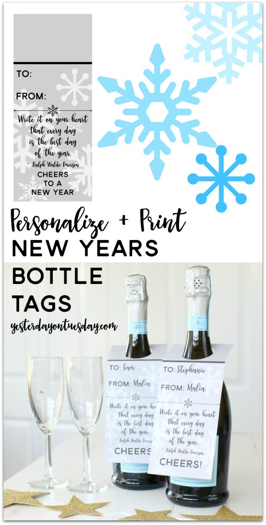 Printable New Years Bottle Tags: Personalize and print these New Years bottle tags, or print and hand write names in. A thoughtful and classy way to dress up a bottle of champagne, wine or even sparkling apple juice! Two styles to choose from.