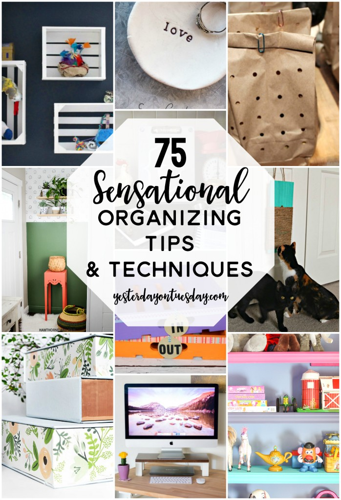 75 Sensational Organizing Tips and Techniques for your home and life including the kitchen, laundry room, bathroom and family room.  Plus cool ideas for kids and pets! Also personal organizing ideas to make life easier.