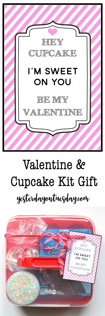 Valentine and Cupcake Gift Kit: Funny cupcake Valentine, a free printable fun with a few items from the dollar store that can be used to make and decorate cupcakes! Budget friendly Valentine's Day gift idea.