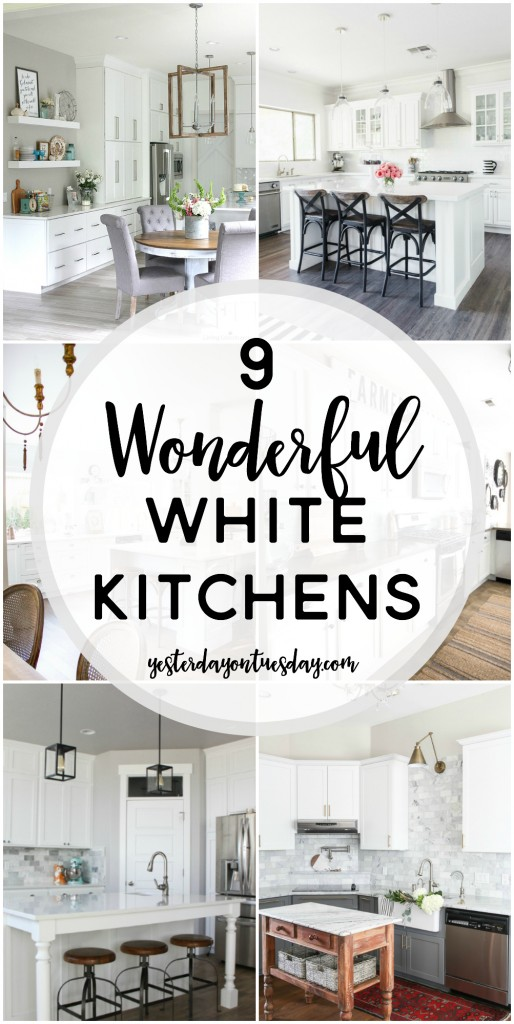 9 Wonderful White Kitchens: A collection if dreamy white kitchens with touches of industrial, modern farmhouse, fixer upper style and more. Tons of inspiring ideas.
