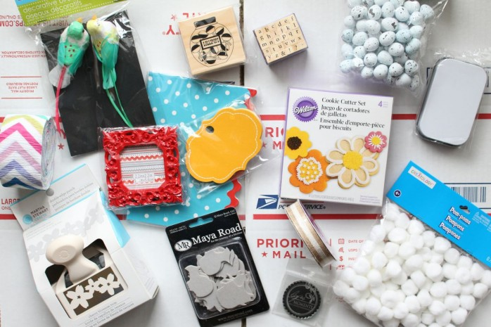 Mega Craft Box Giveaway: Enter to win a box full of new crafting and party supplies including a Martha Stewart paper punch, felt stickers, pom poms, faux eggs and much more!