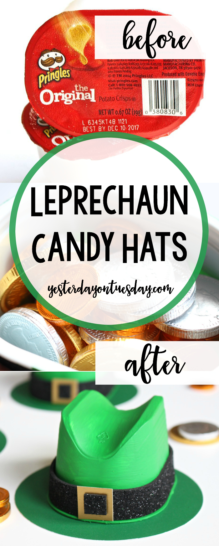 Leprechaun Candy Hats: How to transform plastic containers into cute Leprechaun Hats filled with candy for St. Patricks Day! Awesome classroom craft project for kids.