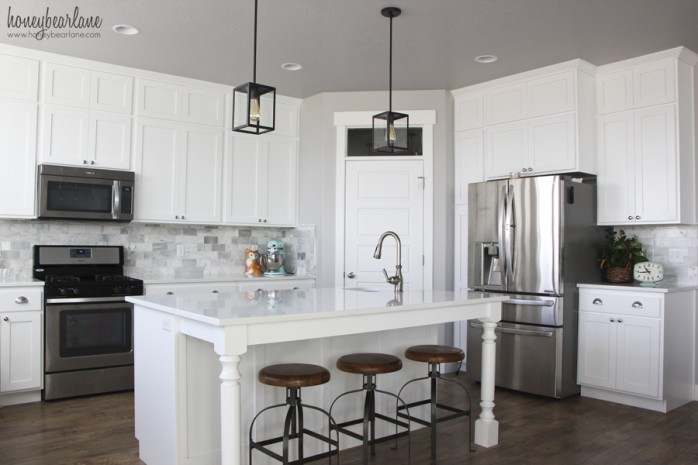 Marble Tiled Kitchen Backsplash by Honeybear Lane