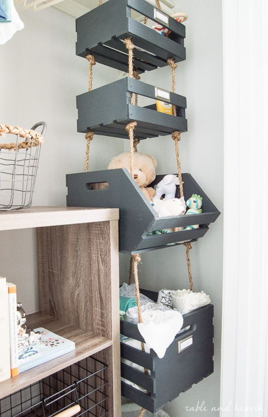 Simple Hanging Closet Crates by Table and Hearth
