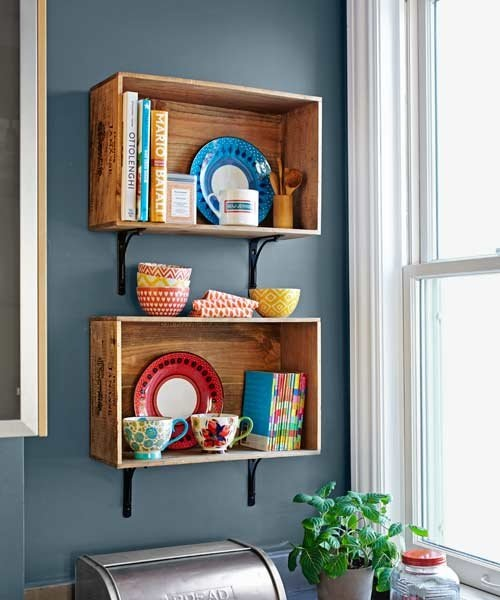 Wall Shelves Crates in the Kitchen from The Kitchn