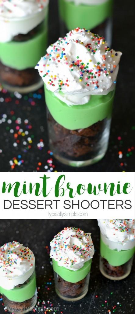 Mint Brownie Dessert Shooters