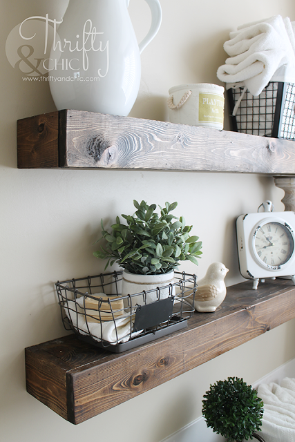DIY Floating Shelves from Thrifty and Chic
