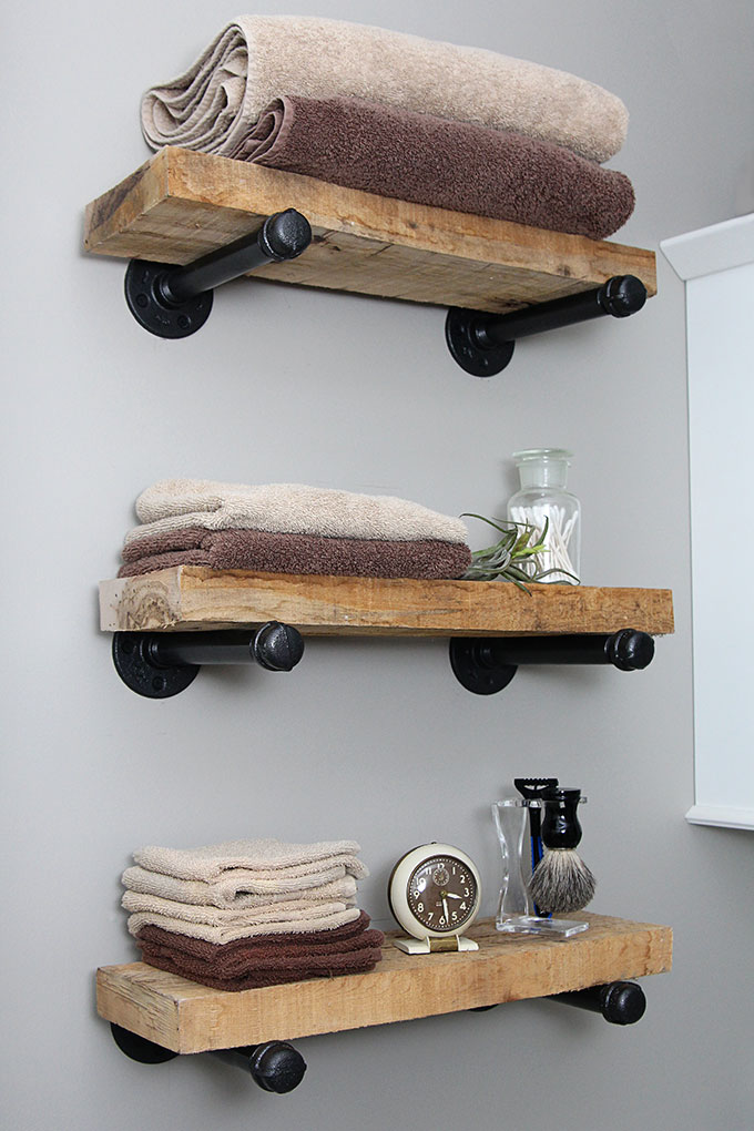 DIY Industrial Pipe Shelves from House of Hawthornes
