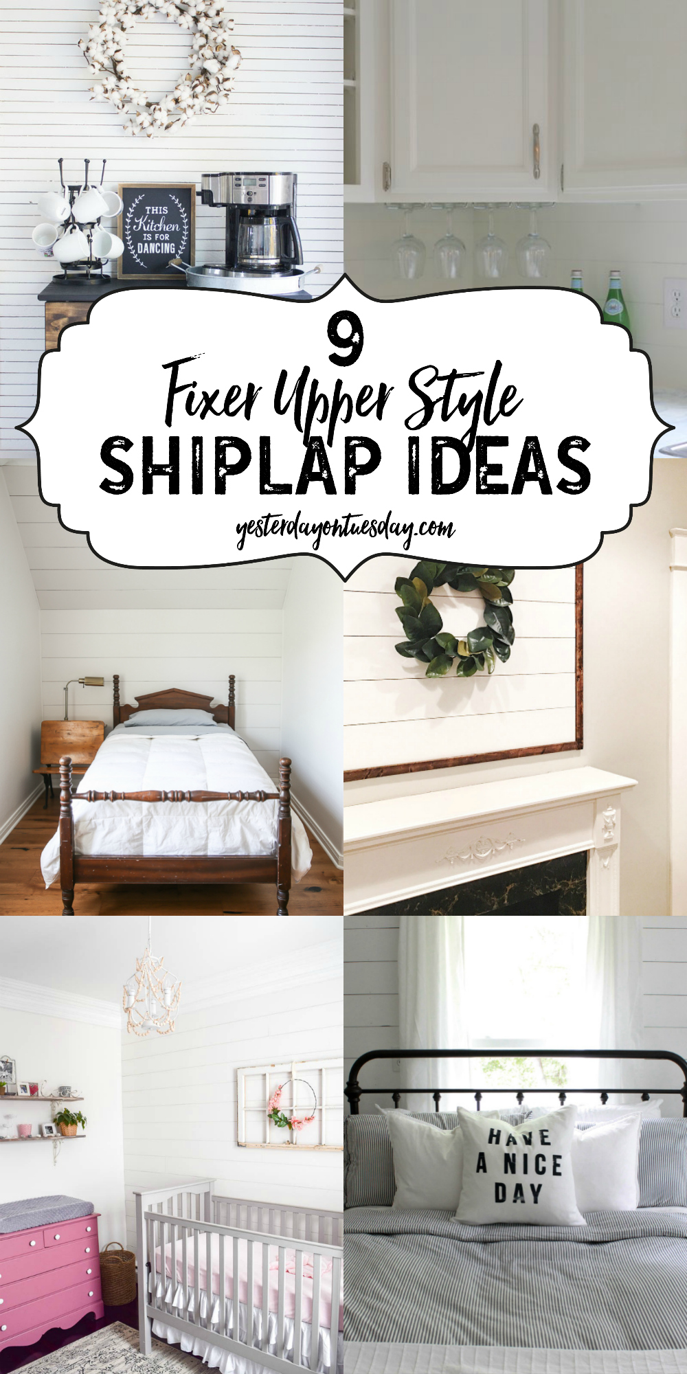 9 Fixer Upper Style Shiplap Ideas for the kitchen, kid's rooms, bedroom, entry, living too and more!