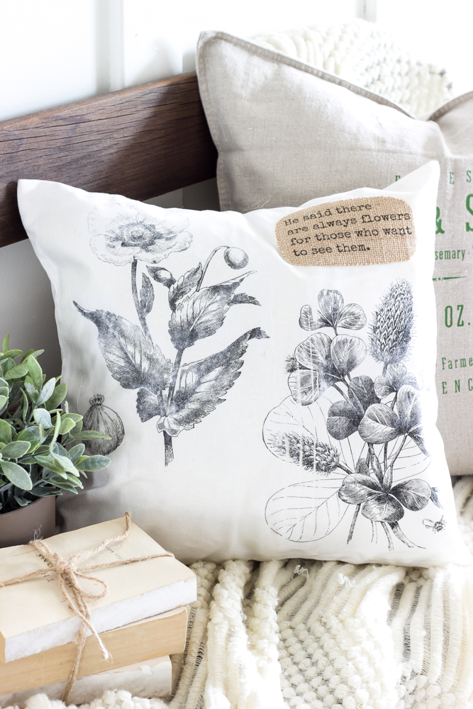 Vintage Botanical Print Pillow