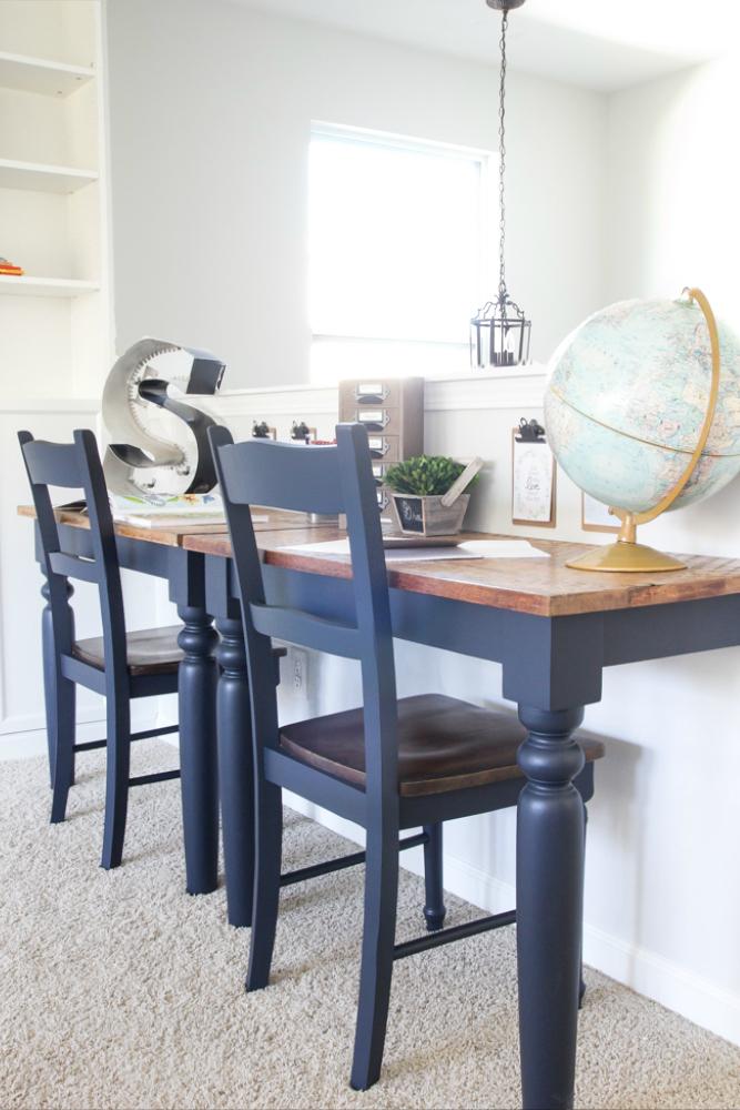 DIY Repurposed Kitchen Table Desks