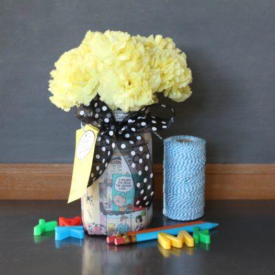 Comics Mason Jar Vase Teacher Gift