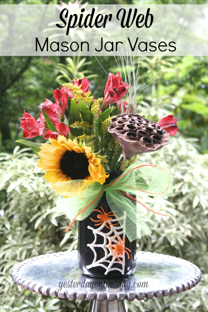 Spider Web Mason Jar Vases