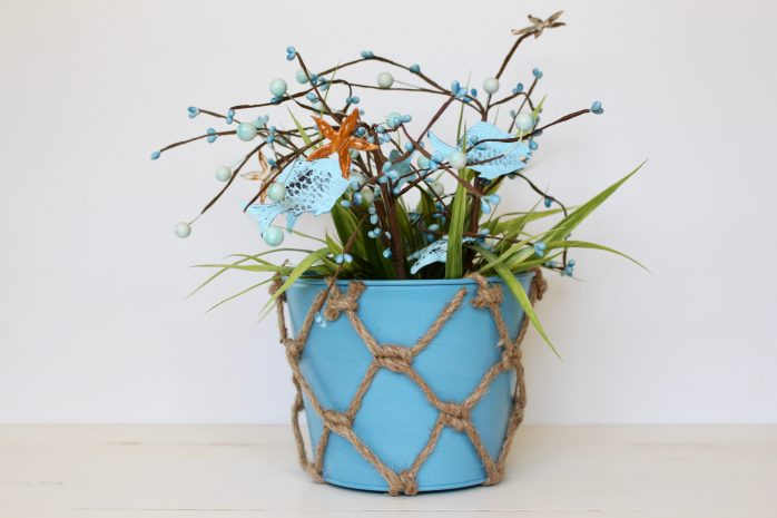 Faux Beach Grass in a Bucket