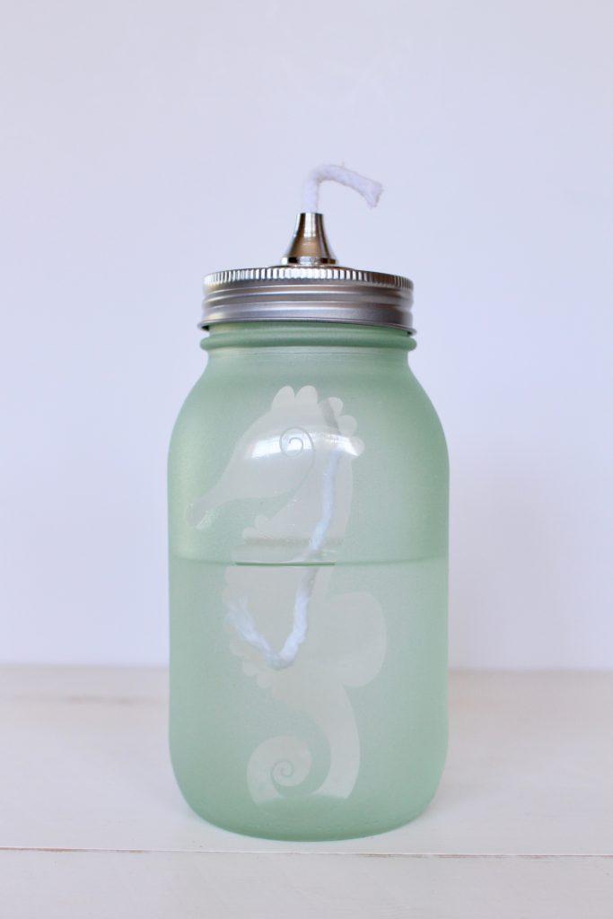 Seahorse Mason Jar Oil Lamp