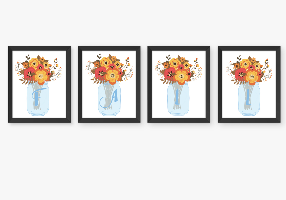 Autumn Mason Jar Printable Initials